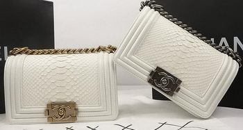 Boy Chanel mini Flap Bag Original Python Leather A67085 OffWhite