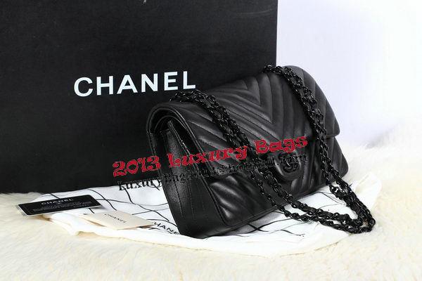 Chanel 2.55 Series Flap Bag Sheepskin Chevron Quilting A1112 Black