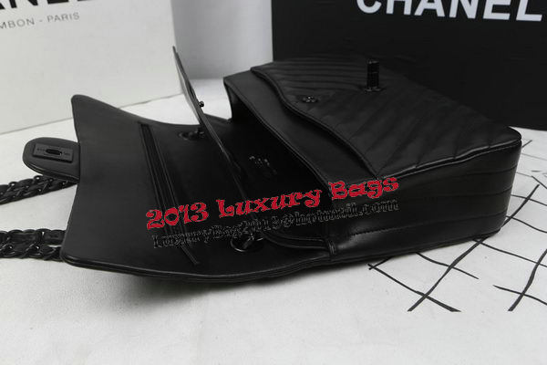 Chanel 2.55 Series Flap Bag Sheepskin Leather Chevron Quilting A1112 Black
