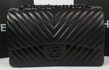 Chanel Classic Flap Bag Sheepskin Chevron Quilting A1113 Black