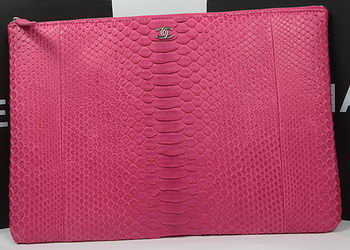 Chanel Clutch Bag Original Python Leather A82080 Rose