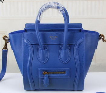 Celine Luggage Nano Tote Bag Original Leather CLY33081S Blue