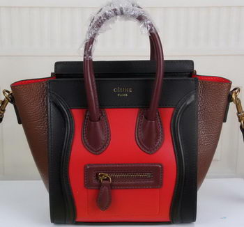 Celine Luggage Nano Tote Bag Original Leather CLY33081S Red