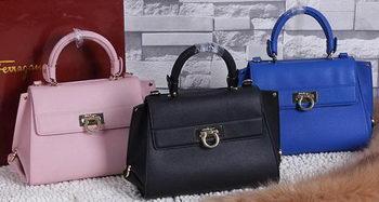 Ferragamo Calfskin Leather Medium Shoulder Bag SF588478