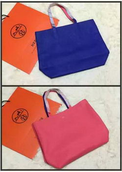 Hermes Shopper Double-Sided Bag Original Leather HS1209 Blue&Pink