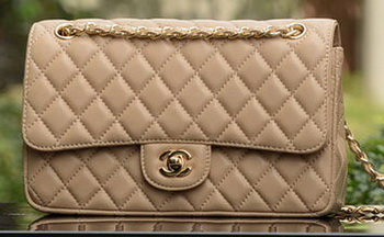 Chanel 2.55 Series Flap Bag Apricot Sheepskin Leather A1112 Gold
