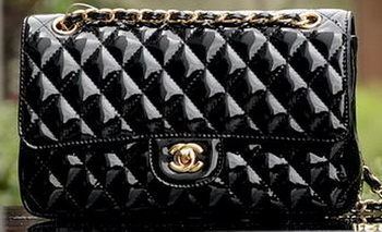 Chanel 2.55 Series Flap Bag Black Patent Leather A1112 Gold