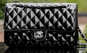 Chanel 2.55 Series Flap Bag Black Patent Leather A1112 Silver