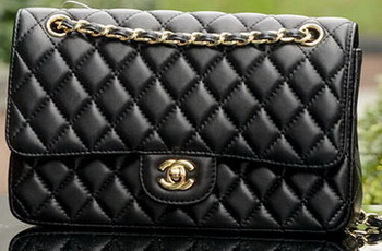 Chanel 2.55 Series Flap Bag Black Sheepskin Leather A1112 Gold