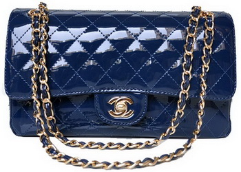 Chanel 2.55 Series Flap Bag Blue Patent Leather A1112 Gold