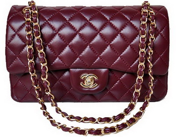 Chanel 2.55 Series Flap Bag Burgundy Patent Leather A1112 Gold