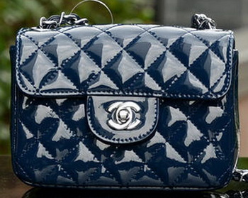 Chanel Classic MINI Flap Bag Royal Patent Leather A1115 Silver