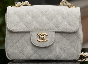 Chanel Classic MINI Flap Bag White Cannage Pattern A1115 Gold