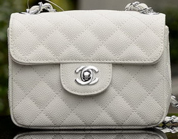 Chanel Classic MINI Flap Bag White Cannage Pattern A1115 Silver