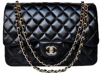 Chanel Jumbo Quilted Classic Black Sheepskin Flap Bag A58600 Gold