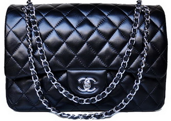 Chanel Jumbo Quilted Classic Black Sheepskin Flap Bag A58600 Silver