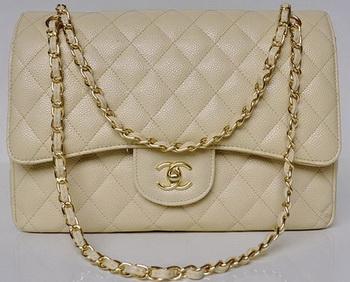 Chanel Jumbo Quilted Classic Flap Bag Apricot Cannage Patterns A58600 Gold