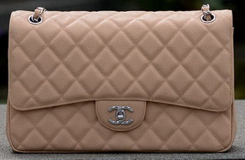 Chanel Jumbo Quilted Classic Flap Bag Apricot Cannage Patterns A58600 Silver
