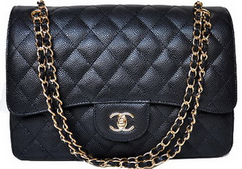 Chanel Jumbo Quilted Classic Flap Bag Black Cannage Patterns A58600 Gold