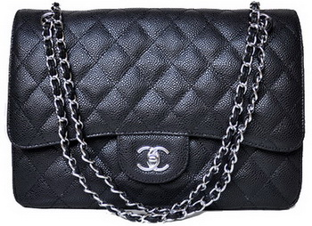 Chanel Jumbo Quilted Classic Flap Bag Black Cannage Patterns A58600 Silver