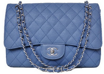 Chanel Jumbo Quilted Classic Flap Bag Blue Cannage Patterns A58600 Silver
