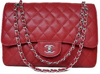 Chanel Jumbo Quilted Classic Flap Bag Burgundy Cannage Patterns A58600 Silver