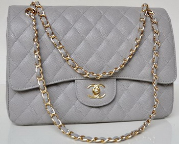 Chanel Jumbo Quilted Classic Flap Bag Grey Cannage Patterns A58600 Gold