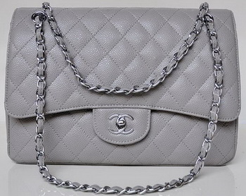 Chanel Jumbo Quilted Classic Flap Bag Grey Cannage Patterns A58600 Silver