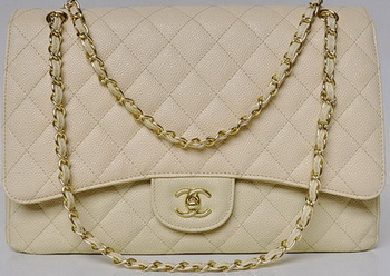Chanel Maxi Quilted Classic Flap Bag Apricot Cannage Patterns A58601 Gold