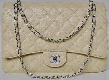 Chanel Maxi Quilted Classic Flap Bag Apricot Cannage Patterns A58601 Silver