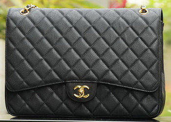 Chanel Maxi Quilted Classic Flap Bag Black Cannage Patterns A58601 Gold
