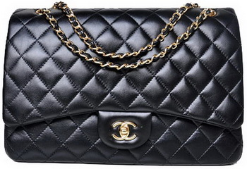 Chanel Maxi Quilted Classic Flap Bag Black Sheepskin A58601 Gold
