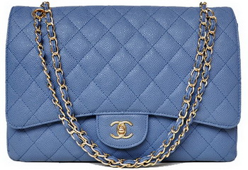 Chanel Maxi Quilted Classic Flap Bag Blue Cannage Patterns A58601 Gold