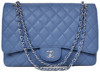 Chanel Maxi Quilted Classic Flap Bag Blue Cannage Patterns A58601 Silver