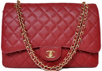 Chanel Maxi Quilted Classic Flap Bag Burgundy Cannage Patterns A58601 Gold