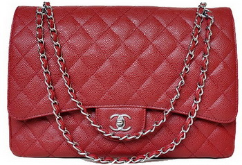 Chanel Maxi Quilted Classic Flap Bag Burgundy Cannage Patterns A58601 Silver