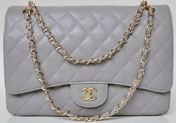 Chanel Maxi Quilted Classic Flap Bag Grey Cannage Patterns A58601 Gold