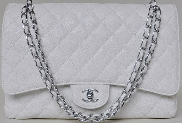 Chanel Maxi Quilted Classic Flap Bag White Cannage Patterns A58601 Silver
