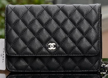 Chanel mini Flap Bag Black Cannage Pattern A33814 Silver