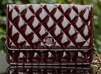 Chanel mini Flap Bag Burgundy Patent Leather A33814 Gold