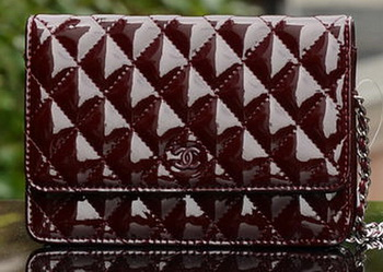 Chanel mini Flap Bag Burgundy Patent Leather A33814 Silver