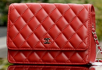 Chanel mini Flap Bag Red Sheepskin Leather A33814 Silver