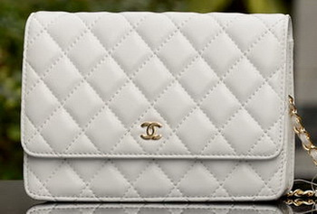 Chanel mini Flap Bag White Sheepskin Leather A33814 Gold