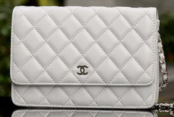 Chanel mini Flap Bag White Sheepskin Leather A33814 Silver