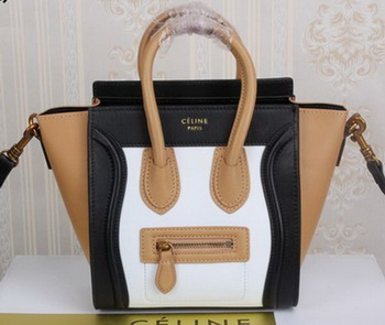 Celine Luggage Nano Tote Bag Original Leather CLY33081S White&Black&Apricot
