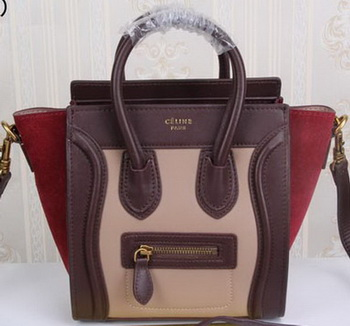 Celine Luggage Nano Tote Bag Suede Leather CLY33081S Camel&Burgundy