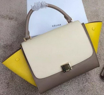 Celine mini Trapeze Bag Original Nubuck Leather CTA3345 OffWhite&Khaki&Yellow