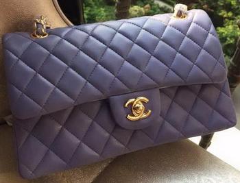 Chanel 2.55 Series Flap Bag Lavender Original Leather A01112 Gold