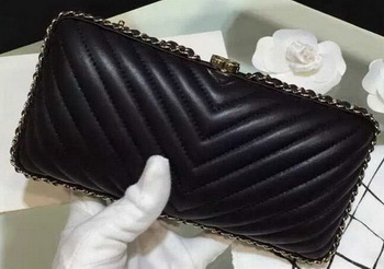 Chanel Chevron Evening Bag Sheepskin Leather A69404 Black