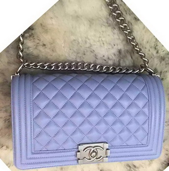 Boy Chanel Flap Shoulder Bag Original Sheepskin A64375 Lavender